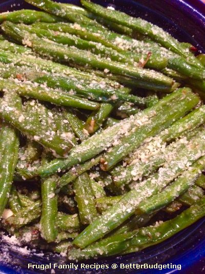 Fresh green beans with Parmesan cheese