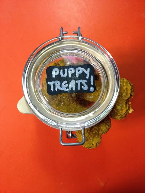Overhead shot of a jar of dog treats