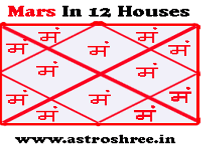 how mars changes life by sittingin 12 houses of horoscope