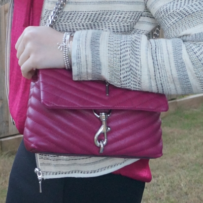 jacquard jacket, Rebecca Minkoff Edie small crossbody bag in magenta | away from the blue