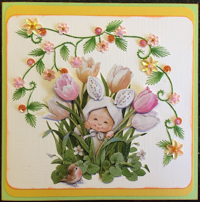 Paper embroidery Easter card
