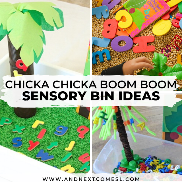 Sensory bin ideas based on the book Chicka Chicka Boom Boom