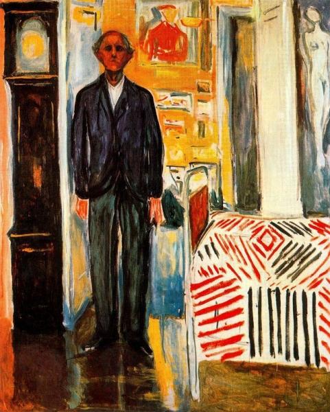 Autoretrat: entre el llit i el rellotge (Edvard Munch)