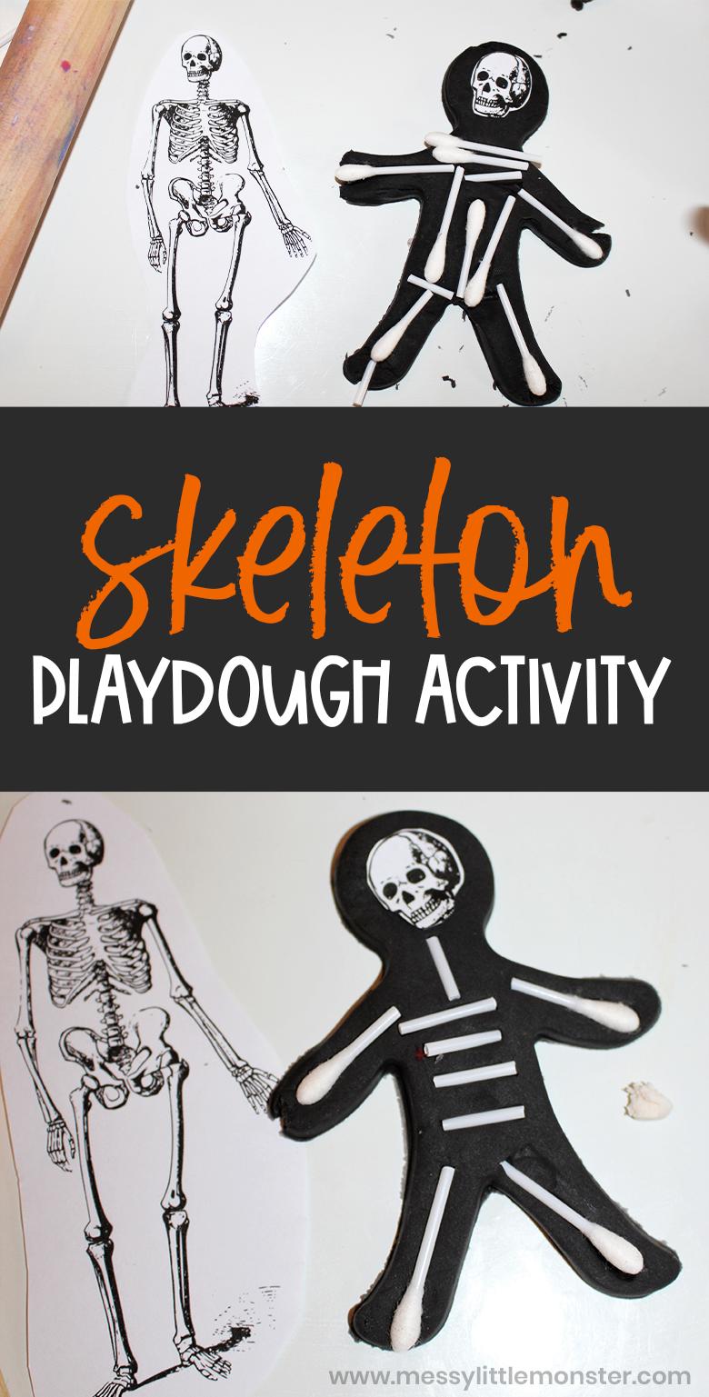 Playdough skeleton. Human skeleton activity for kids.