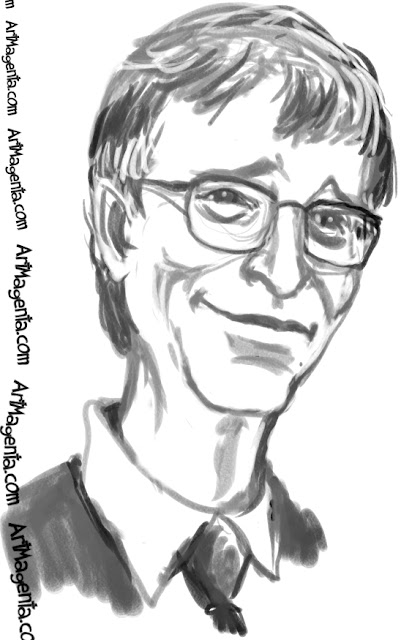 Bill Gates  caricature cartoon. Portrait drawing by caricaturist Artmagenta.