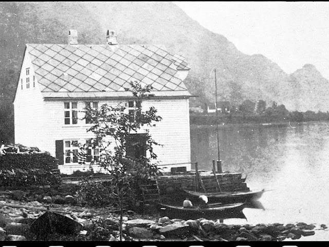 The very first Hotel Ullensvang was known as the 'staging inn.' This photo dates to 1846 and shows the one-bedroom inn above the steamship agency. All historical photos in this series are the property of Hotel Ullensvang.