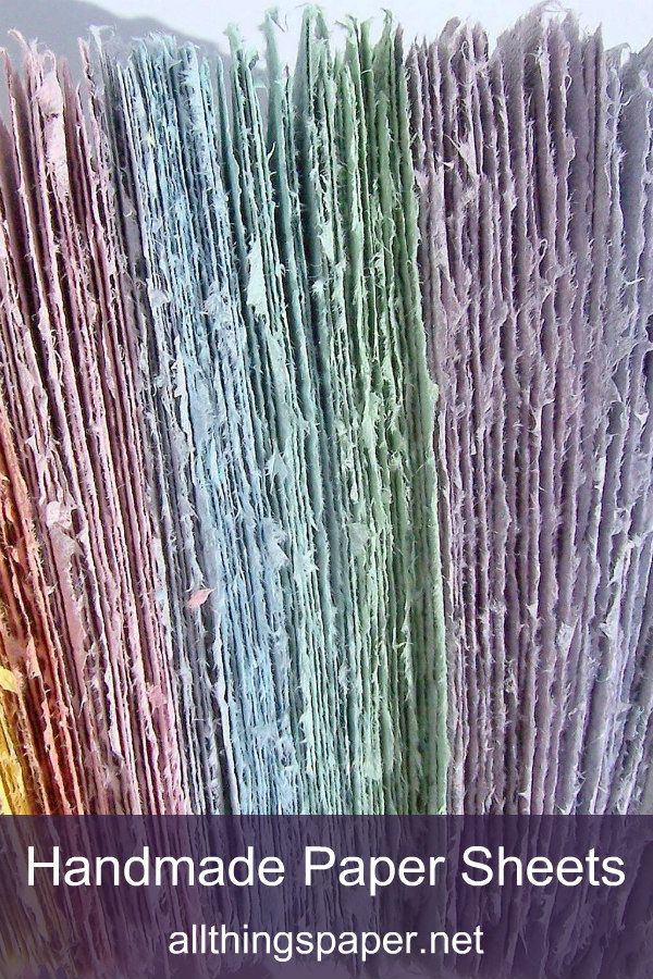rainbow colored handmade paper sheets