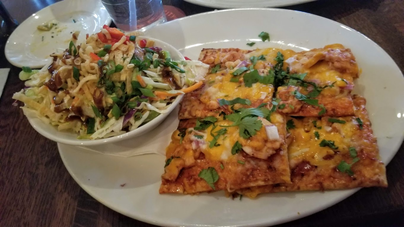Lunch special at Granite City, Troy: half salad and BBQ chicken pizza