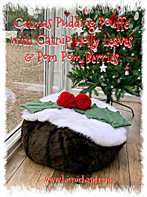 Crafting with Cats Catmas Special - Part 3 ©BionicBasil® Catmas Pudding Pouffe with Catnip Holly Leaves & Pom Pom Berries ...