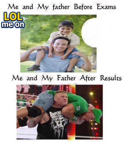 "funny people picture shows a son and his father before and after exams from ""LOL me on"""
