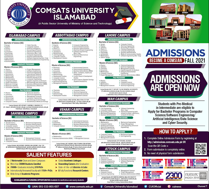 Comsats University Islamabad Admission Open Fall 2021