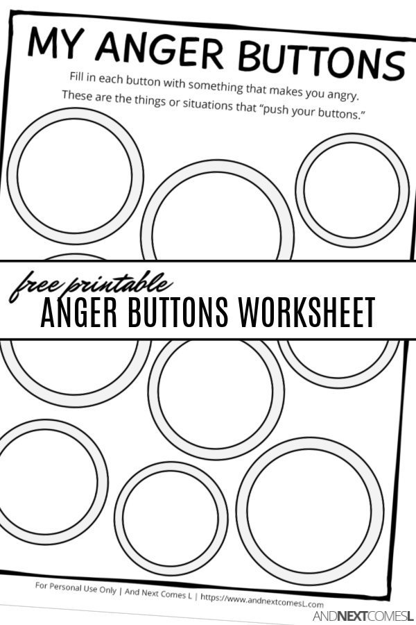 Free Printable Anger Buttons Worksheet