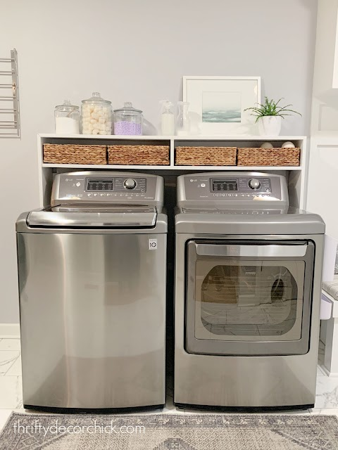 Long DIY shelf over top loader washer dryer