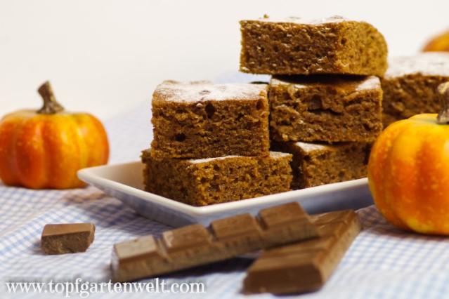 Kürbiskuchen vom Blech mit Öl und Schokolade - Foodblog Topfgartenwelt