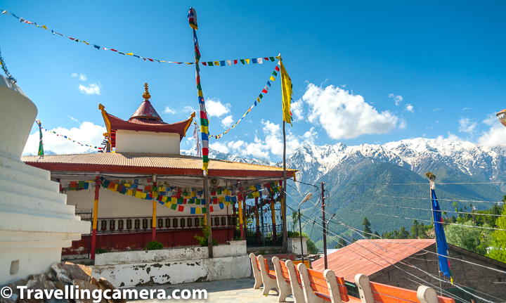 While walking around the market of Kalpa town, apart from temples you can also visit this old monastery, which comes on the way when you walk towards Narayan Nagin temple. You need to take a few steps climb on left side of the main path and you are close to the monastery with snow covered mountains in the background.   Folks who have interest in history can enjoy this place a a lot. If you have recently visited other monasteries and especially coming back from Spiti, this may look very small but when explore, you will realise that it's very different from many modern monasteries. Kalpa monastery was founded by Rinchensang-po around 950-1055 AD and hence you find some evidences of it being very ancient.  Kalpa Monastery also has many captivating wall paintings and the daily buddhist chants bring a Kalpa town to a very different mood.