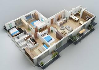 contoh pelan rumah banglo 4 bilik