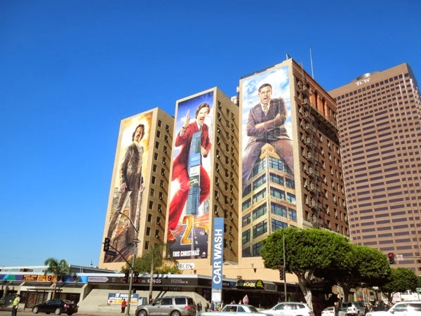 Giant Anchorman 2 movie billboards Downtown LA