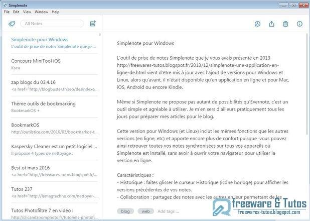 Simplenote : l'outil de prise de notes maintenant disponible pour Windows