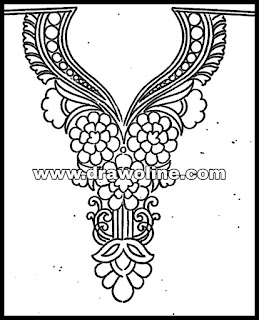 Latest front neck design kurti and blouse Embroidery design paper by pencil sketch,