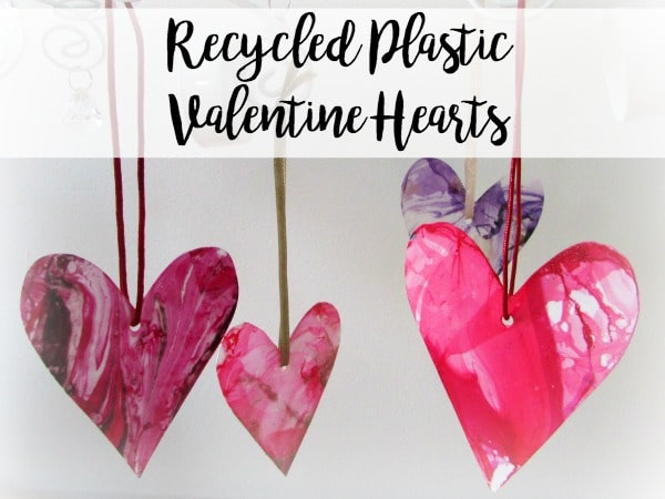 These DIY Valentine's Day craft is a great way to recycle old plastic food containers