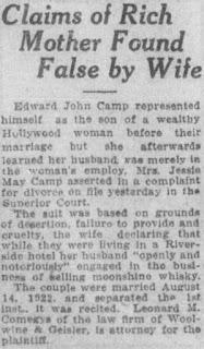 Jessie May Walsh Edward Camp Divorce