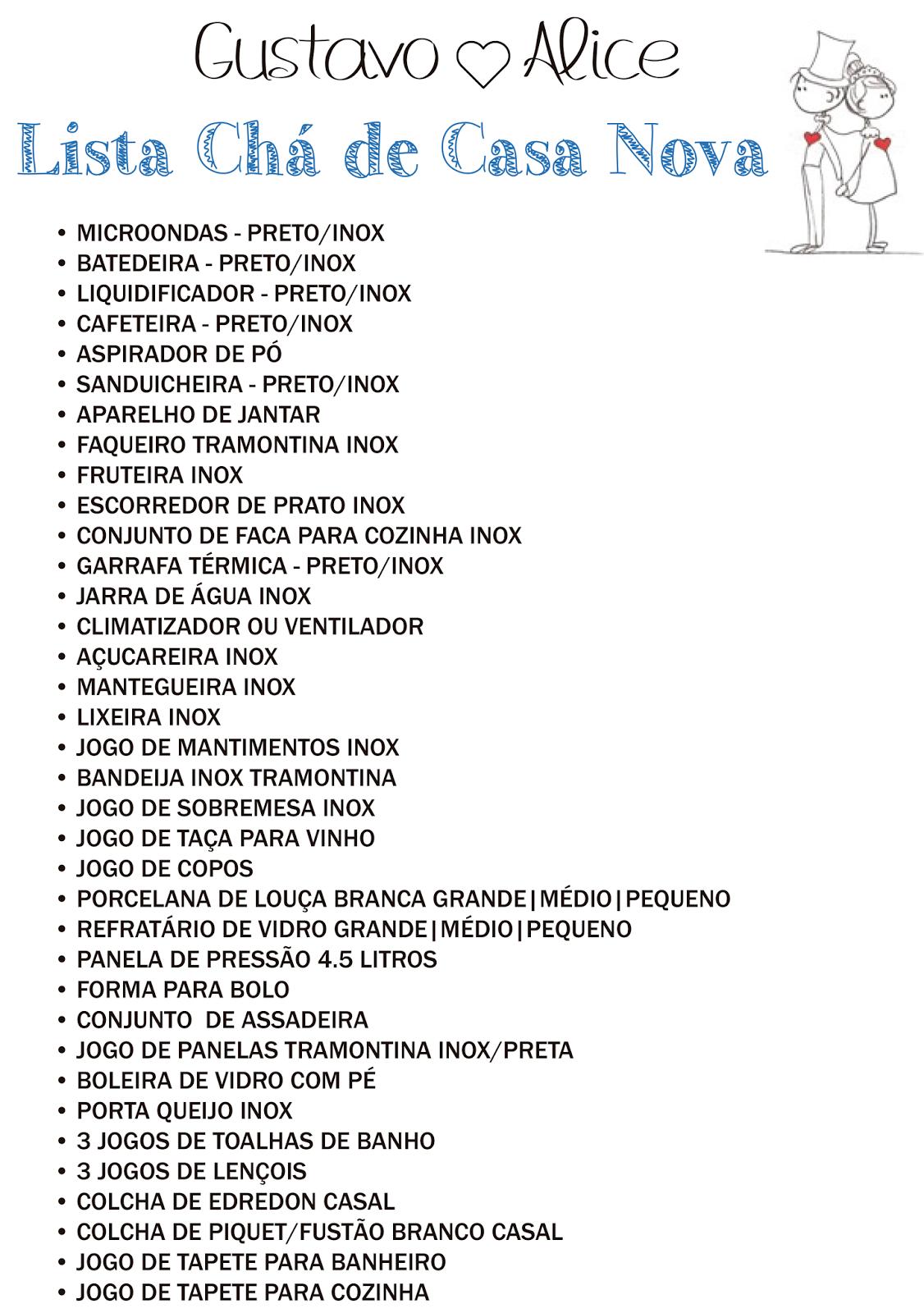 Lista De Coisas Para Cha De Cozinha Oppenau Info