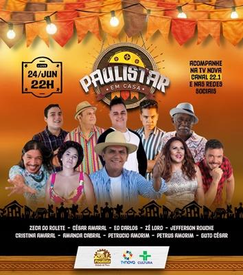 Paulista realizará 'Live Paulistar em Casa' nesta quinta-feira (24/6), Dia de São João
