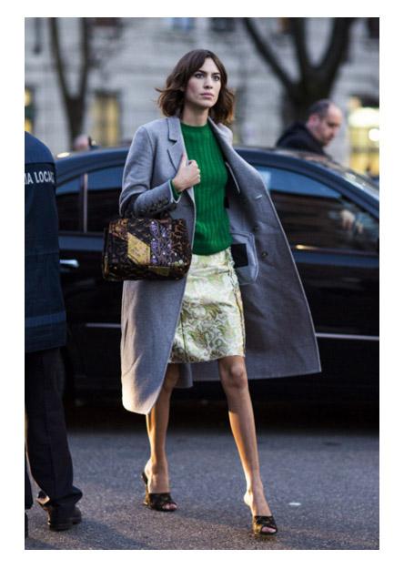 Алекса Чанг юбка и сумка с похожим принтом