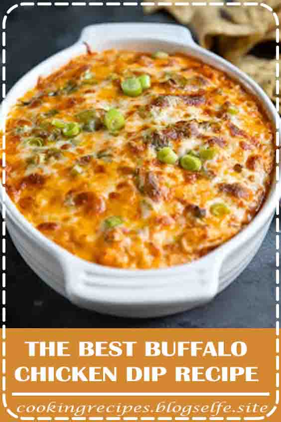 4.9 ★★★★★ | This Buffalo Chicken Dip is everyone's favorite game day or party appetizer! #buffalo chicken dip #recipe #baked