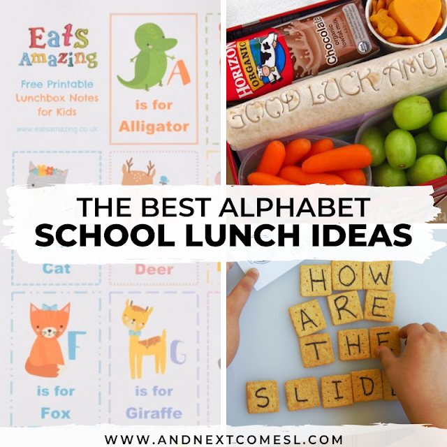 Alphabet school lunch ideas for kids