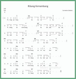 not angka lagu ribang kemambang lagu daerah sumatera selatan