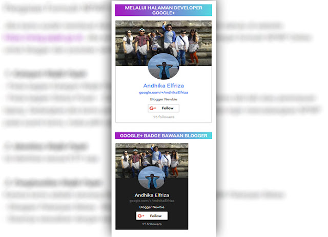 Cara Memasang Badge Profil Google Plus Pada Blogger