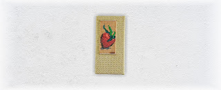 Strawberry One Bead and Fiber Fine Art Tapestry by Jen Ten Art