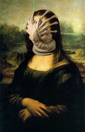Funny Alien Mona Lisa painting
