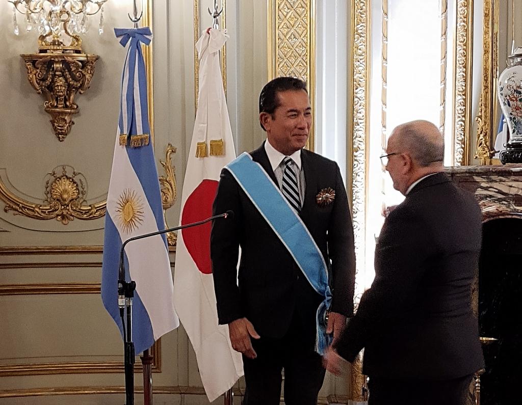 El embajador del Japón en Argentina, Noriteru Fukushima recibió la Orden General San Martín en el grado de Gran Cruz