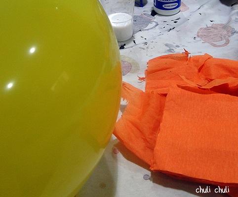 materiales para la calabaza de papel
