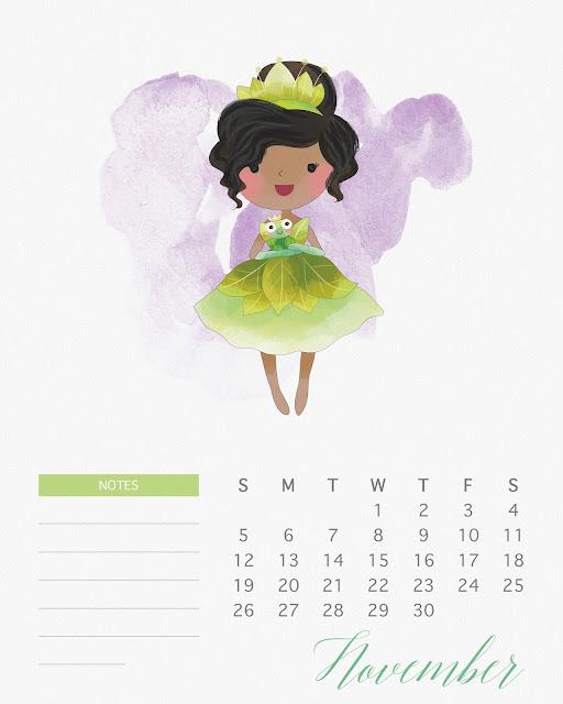 Calendario 2017 de las Princesas Disney para Imprimir Gratis Noviembre.