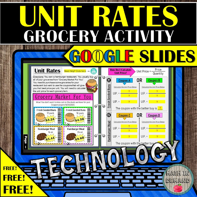 Unit Rates Activity Unit Prices Distance Learning