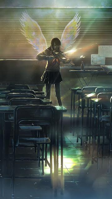 Angel, girl, classroom, cute anime wallpaper