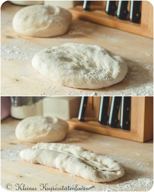 Brotteig vor und nach dem Falten