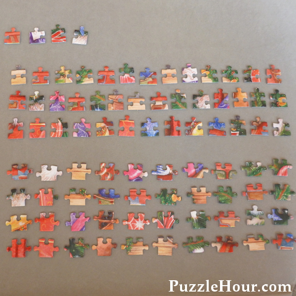 Sorted corner and edge pieces for a 500 piece jigsaw puzzle laid out on a board jigboard jigsaws puzzles sorting