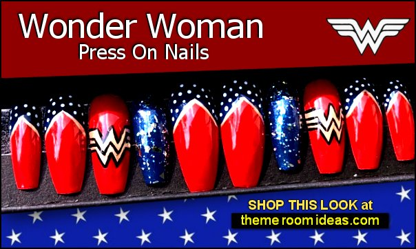 Wonder Woman press on Nails ww superhero nail decals - superhero party nail designs comic con nails Wonder Woman