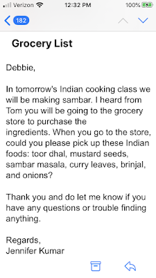 Writing a grocery list in an email