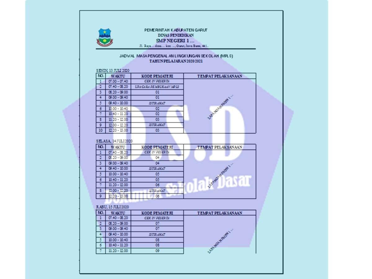 Format Jadwal MPLS SMP Excel