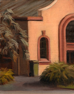 Oil painting of a green bin outside an Art Deco-style botanical conservatory.