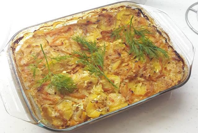 Запеканка по-гамбургски с сельдью и картошкой