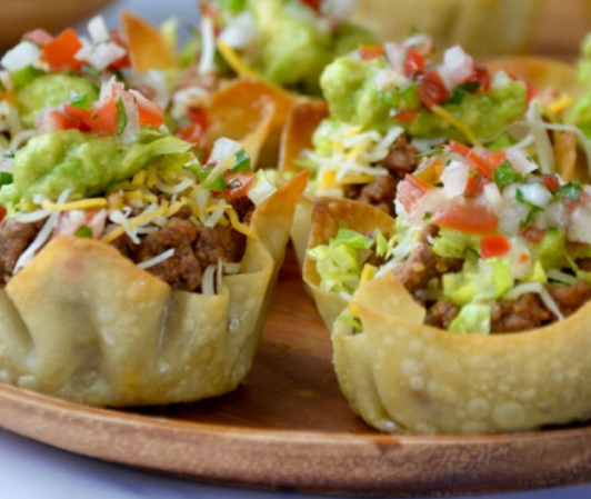 Easy Taco Salad Cups #salad #vegan #vegetarian #easy #taco