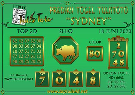 Prediksi Tulistoto Sydney Kamis 18 Juni 2020