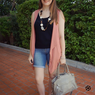 awayfromblue instagram pink vest bermuda denim shorts Rebecca Minkoff MAM bag