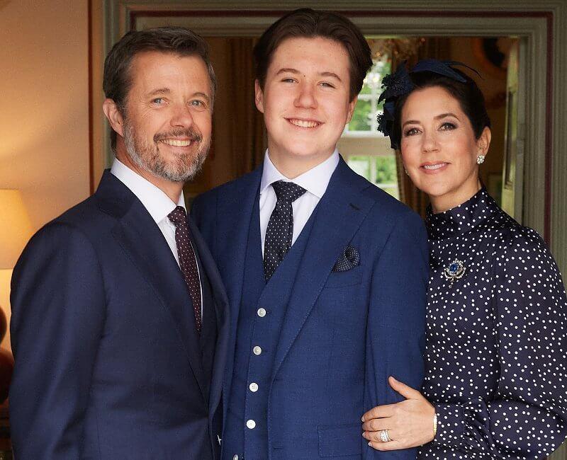 InWear Abra french nougat blazer, Pili Carera tweed blazer, Iris and Ink polka-dot dress. Crown Princess Mary